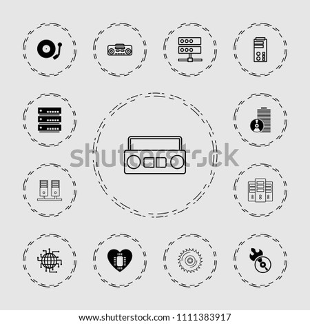 Disk icon. collection of 13 disk filled and outline icons such as disc flame, server, gramophone, cpu planet, record player. editable disk icons for web and mobile.