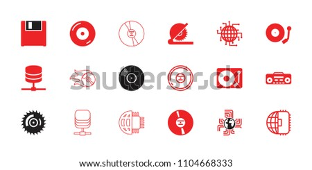 Disk icon. collection of 18 disk filled and outline icons such as disc on fire, cd, record player, server, gramophone, cpu planet. editable disk icons for web and mobile.