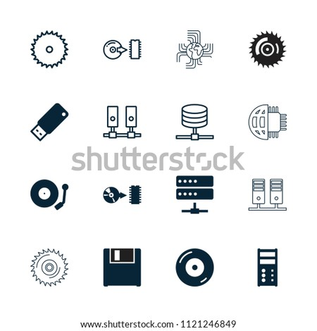 Disk icon. collection of 16 disk filled and outline icons such as disc on fire, disc, gramophone, usb drive, blade saw, server. editable disk icons for web and mobile.
