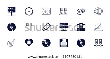 Disk icon. collection of 18 disk filled and outline icons such as diskette, cd, server, blade saw, cpu in heart, disc on fire. editable disk icons for web and mobile.