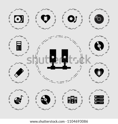 Disk icon. collection of 13 disk filled icons such as cd, server, gramophone, usb drive, cpu in heart. editable disk icons for web and mobile.