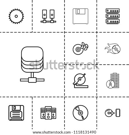 Disk icon. collection of 13 disk outline icons such as blade saw, circular saw, disc on fire, diskette, cd, server, disc. editable disk icons for web and mobile.