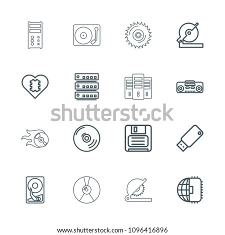 Disk icon. collection of 16 disk outline icons such as circular saw, cpu in heart, cpu planet, diskette, record player, server. editable disk icons for web and mobile.