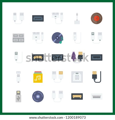 disk icon. compact disc and usb vector icons in disk set. Use this illustration for disk works.