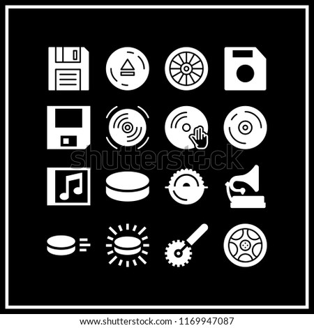 disk icon. 16 disk vector set. eject, floppy disk, vinyl and alloy wheel icons for web and design about disk theme