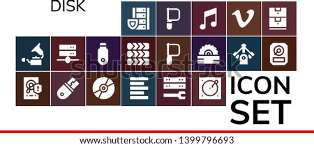 disk icon set. 19 filled disk icons.  Collection Of - Server, Gramophone, Hard disk, Usb, Compact disc, Left alignment, Turntable, Pendrive, Tires, Saw, Motor, Hdd, Music, Vimeo