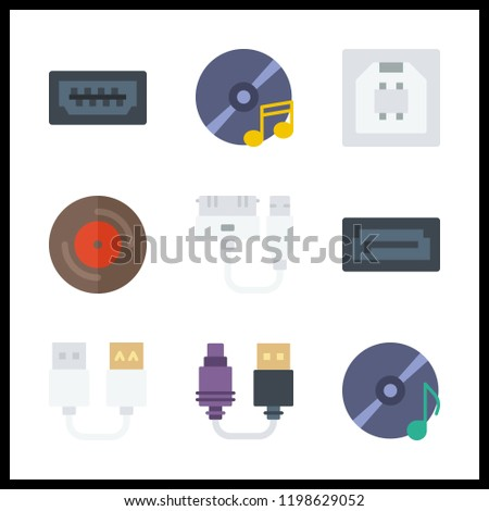 disk icon. usb and compact disc vector icons in disk set. Use this illustration for disk works.