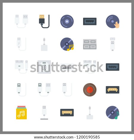 disk icon. usb and music album vector icons in disk set. Use this illustration for disk works.