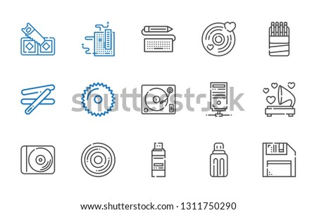 disk icons set. Collection of disk with diskette, usb, pendrive, compact disc, disc, gramophone, server, turntable, saw, stick, sticks, vinyl. Editable and scalable disk icons.