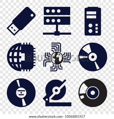 Disk icons. set of 9 editable filled disk icons such as circular saw, cpu planet, cd, server, usb drive