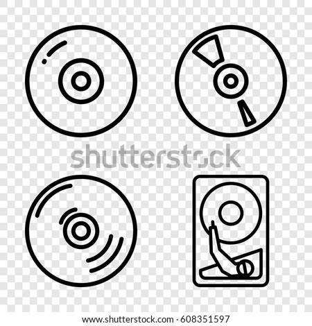 Disk icons set. set of 4 disk outline icons such as CD, hard disc
