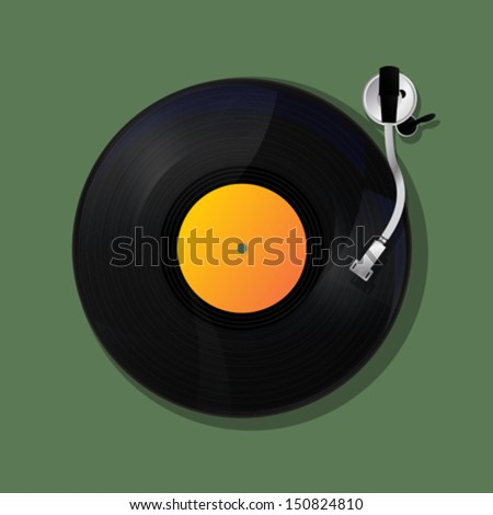 disk jockey turntable  and vinyl