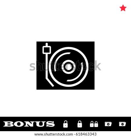 Disk Jockey turntable icon flat. Black pictogram on white background. Vector illustration symbol and bonus button open and closed lock, folder, star