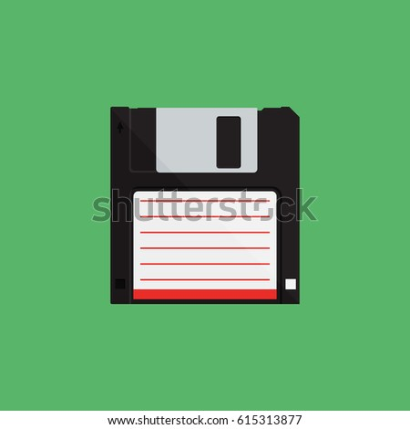 Disk on green background vector concept. Floppy illustration in modern flat style. Color picture for design web site, web banner, printed material. Floppy disk icon. Disk flat vector element.