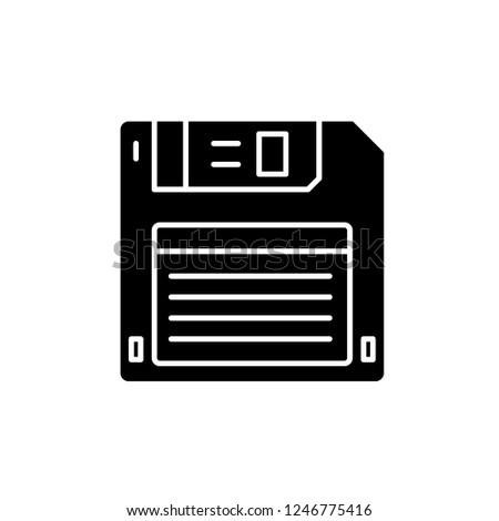 Diskette black icon, vector sign on isolated background. Diskette concept symbol, illustration