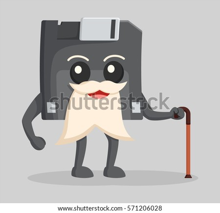 diskette character illustration