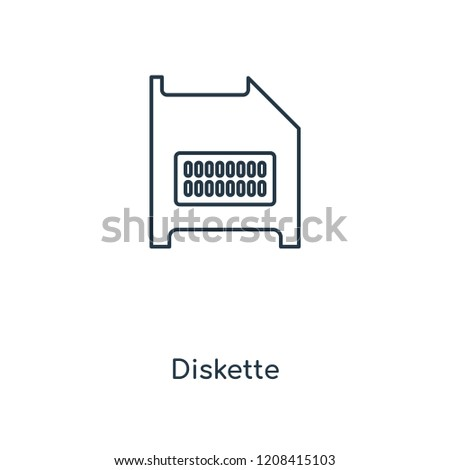 Diskette concept line icon. Linear Diskette concept outline symbol design. This simple element illustration can be used for web and mobile UI/UX.