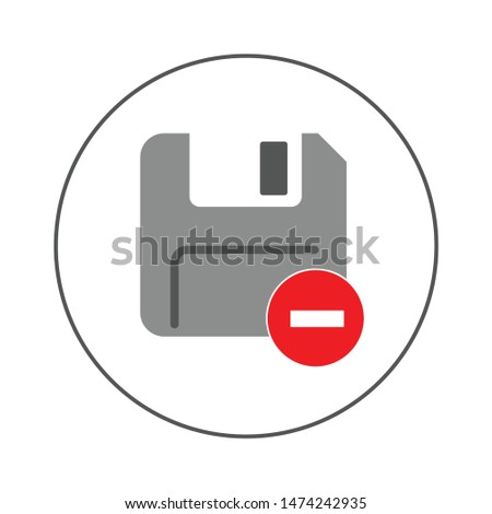 diskette delete icon. flat illustration of diskette delete vector icon. diskette delete sign symbol