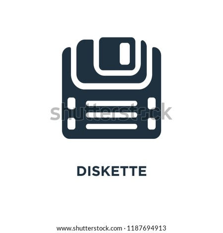 Diskette icon. Black filled vector illustration. Diskette symbol on white background. Can be used in web and mobile.