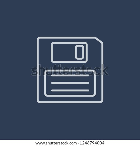 Diskette icon. Diskette linear design concept from Communication collection. Simple element vector illustration on dark blue background.