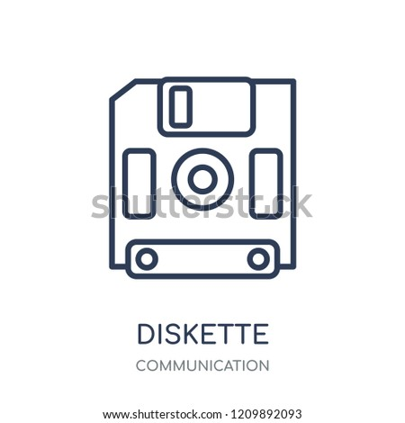 Diskette icon. Diskette linear symbol design from Communication collection. Simple outline element vector illustration on white background.