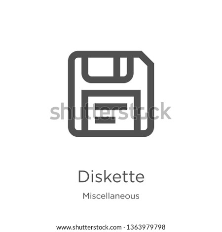 diskette icon. Element of miscellaneous collection for mobile concept and web apps icon. Outline, thin line diskette icon for website design and mobile, app development