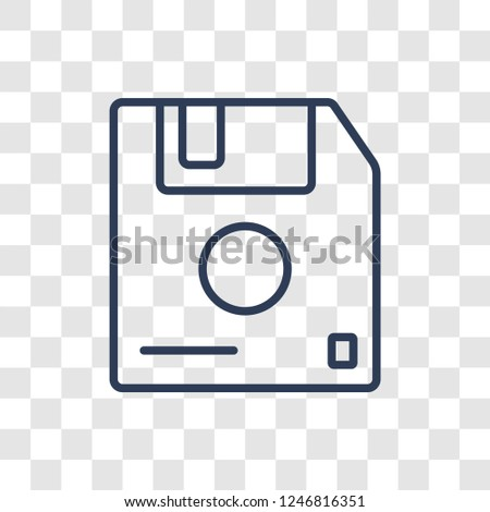 Diskette icon. Trendy linear Diskette logo concept on transparent background from Communication collection