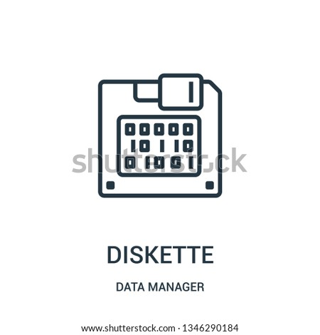 diskette icon vector from data manager collection. Thin line diskette outline icon vector illustration. Linear symbol for use on web and mobile apps, logo, print media.