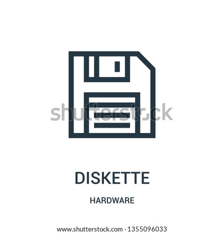 diskette icon vector from hardware collection. Thin line diskette outline icon vector illustration. Linear symbol for use on web and mobile apps, logo, print media.