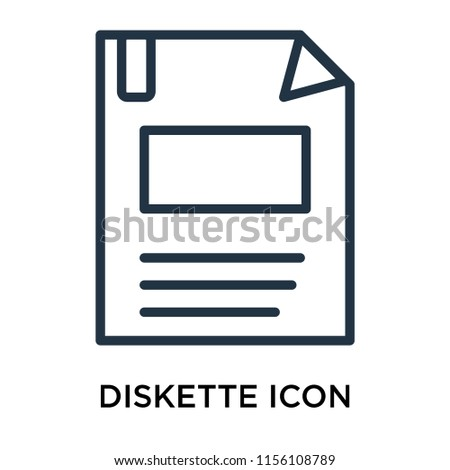 Diskette icon vector isolated on white background, Diskette transparent sign , linear pictogram or outline logo design in lined style