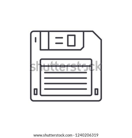 Diskette line icon concept. Diskette vector linear illustration, symbol, sign