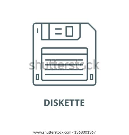Diskette line icon, vector. Diskette outline sign, concept symbol, flat illustration