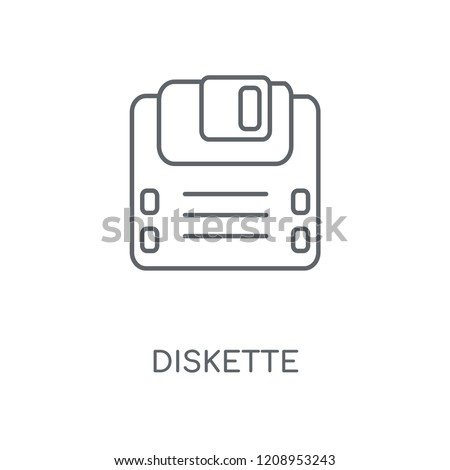 Diskette linear icon. Diskette concept stroke symbol design. Thin graphic elements vector illustration, outline pattern on a white background, eps 10.