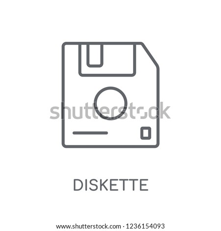Diskette linear icon. Modern outline Diskette logo concept on white background from Communication collection. Suitable for use on web apps, mobile apps and print media.