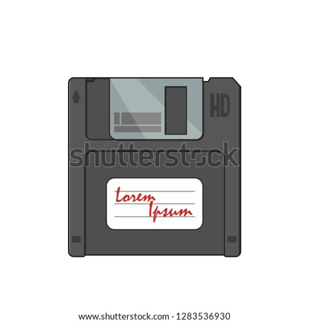 Diskette on a white background in flat style, vector