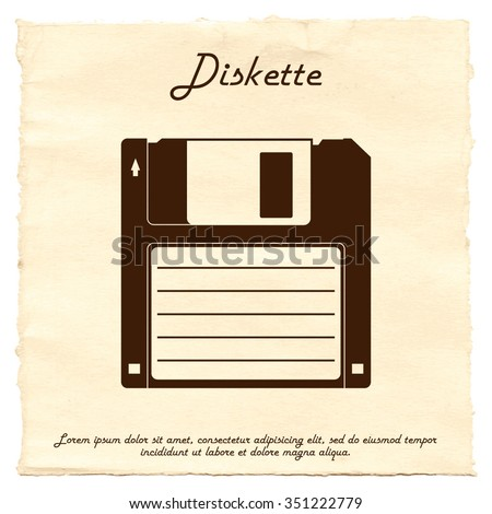 Diskette on old paper background. Retro diskette, vintage diskette.  Diskette in vector isolated on white background.
