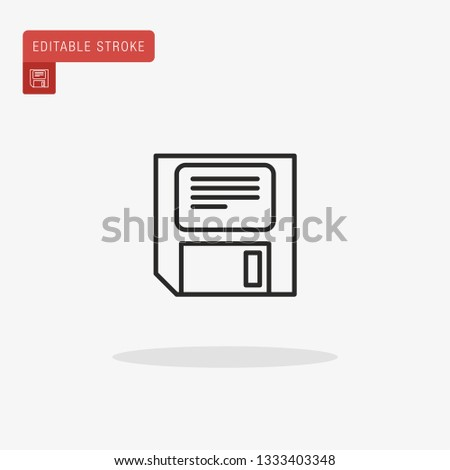 Diskette Simple vector icon. Illustration symbol design template for web mobile UI element. Perfect color modern pictogram on editable stroke. Diskette icons for your business project