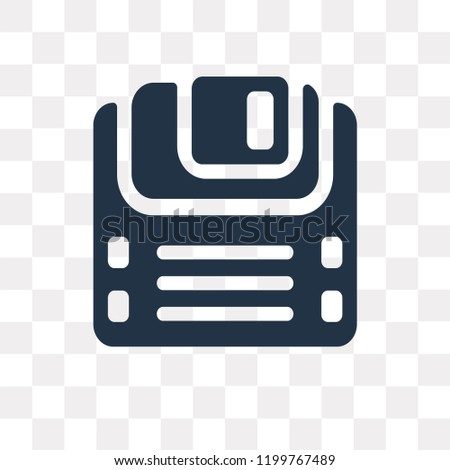 Diskette vector icon isolated on transparent background, Diskette transparency concept can be used web and mobile
