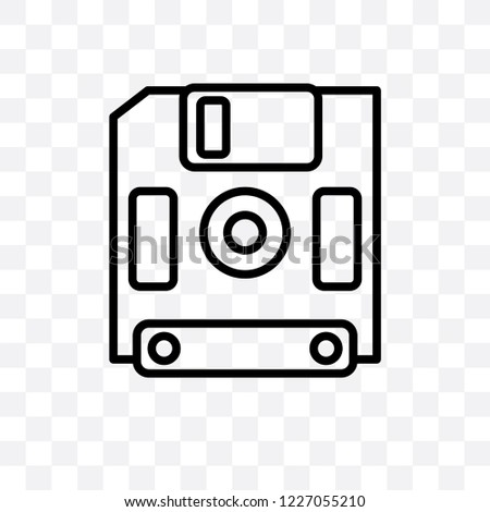 Diskette vector linear icon isolated on transparent background, Diskette transparency concept can be used for web and mobile