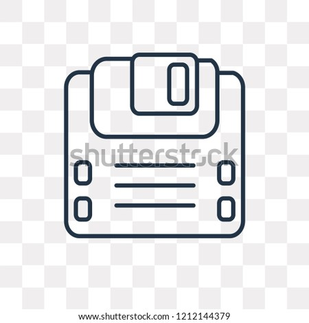Diskette vector outline icon isolated on transparent background, high quality linear Diskette transparency concept can be used web and mobile