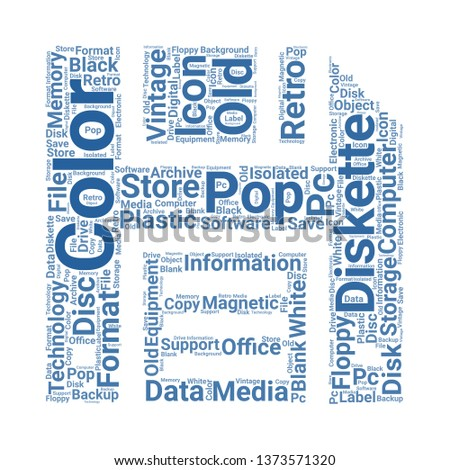 diskette word cloud. tag cloud about diskette
