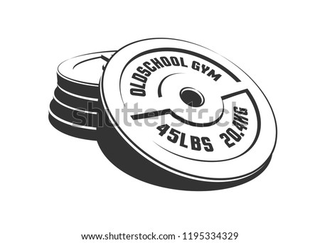 Disks for a heavy weight barbell in a stack. Equipment for the gym. Stamp retro style.