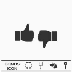 Dislike like icon flat. Black pictogram on white background. Vector illustration symbol and bonus button