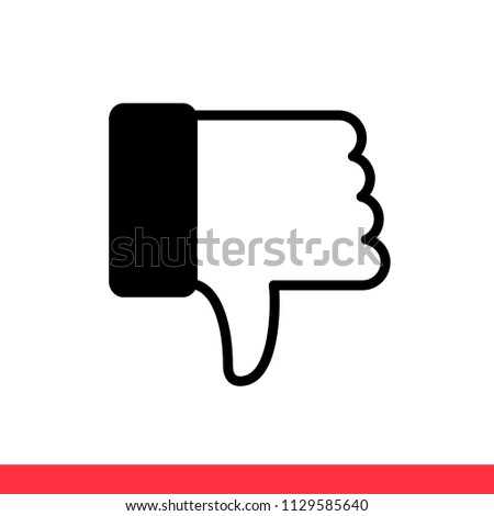 Dislike vector icon, thumbs down symbol. Simple, flat design for web or mobile app