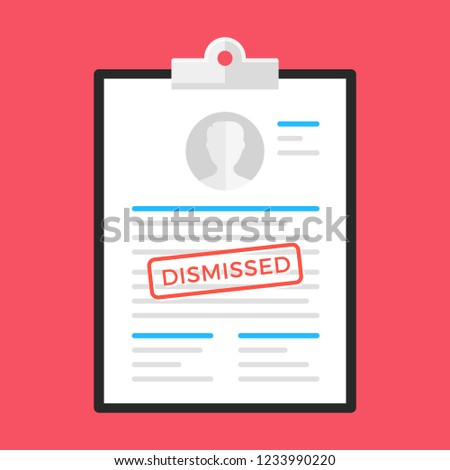 Dismissal. Clipboard and document with dismissed stamp. Flat design. Vector illustration Сток-фото ©