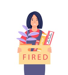 Dismissal from work. Frustrated young woman holding a box with her belongings. Female character who lost his job. Layoff, unemployment, job cuts concept. Cute vector illustration.