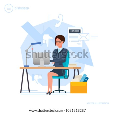 Dismissal from work. Woman working cartoon, with box with documents, dismissal letter from work. Unemployment, crisis, jobless and employee job reduction, job loss. Vector illustration.
