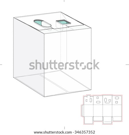 Royalty free six pack carrier box with die cut 344354048 stock dispenser box with die cut template 346357352 pronofoot35fo Images