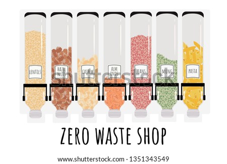 Dispenser for bulk products. Sale of products by weight. Zero waste shop. Say no to plastic! Vector illustration isolated on white.