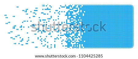 Dispersed filled rectangle dot vector icon with disintegration effect. Rectangular pixels are organized into disappearing filled rectangle figure.